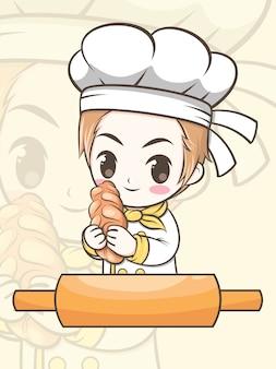 Netter bäckereikochjunge, der eine brotkarikaturfigur und logoillustration hält