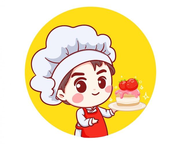Netter bäckereikochjunge, der kuchenlächelndes karikaturkunstillustrationslogo hält.