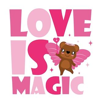 Netter bär als liebesfee mit magie