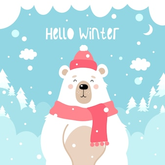 Netter bär auf einem winter