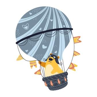Netter bär, der auf heißluftballon fliegt, glückliche illustration lokalisiert auf weißem hintergrund.