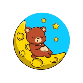 Netter bär, der auf mondkarikaturillustration schläft. isolierte flache karikatur des tier-natur-konzepts