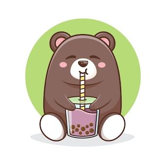 Netter bär, der eine taro boba karikaturillustration trinkt.
