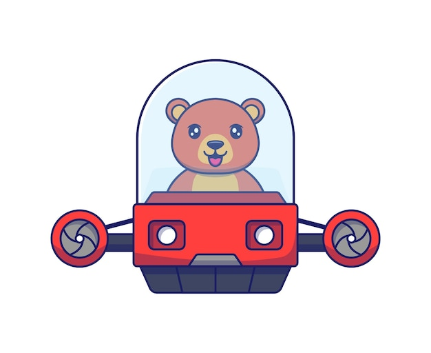 Netter bär, der fliegendes fahrzeug fährt driving