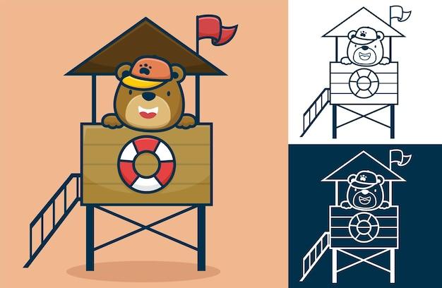 Netter bär, der hut auf rettungsschwimmerpfosten trägt. karikaturillustration im flachen ikonenstil