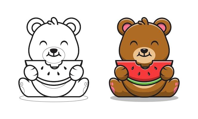 netter bär, der wassermelonen-karikatur zum färben isst