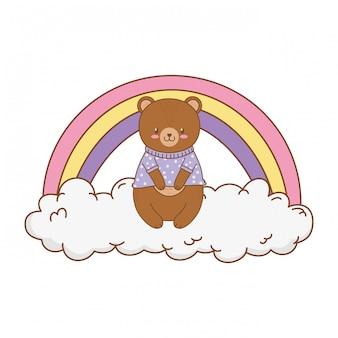 Netter bär in den wolken mit regenbogen