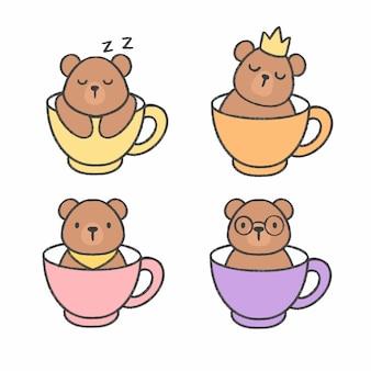 Netter bär in einer tasse tee hand gezeichneten karikatursammlung