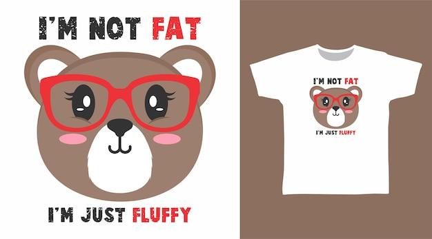 Netter bär mit brillenkarikatur für t-shirt-designkarikatur für t-shirt-design