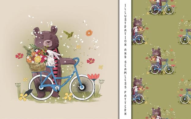 Netter bär mit einem fahrrad mit blumen für kinder