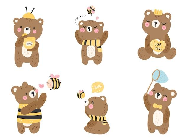 Netter bär mit kleiner biene, frühlingssaison.