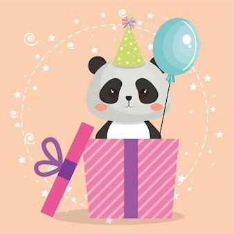 Netter bär panda mit geschenk kawaii geburtstagskarte