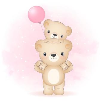 Netter bär trägt kleinen bären auf der rückseite der karikaturtieraquarellillustration
