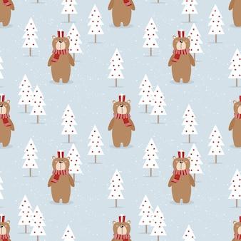 Netter bär und geschenk im nahtlosen muster der weihnachtsjahreszeit
