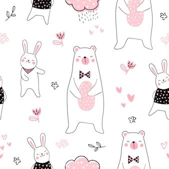 Netter bär und kaninchen des nahtlosen musterhintergrundes