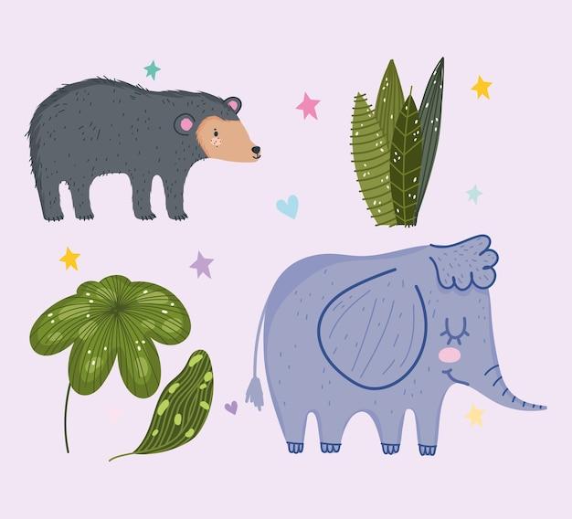 Netter bärenelefant und verlässt tiersafari-karikatur mit blättern