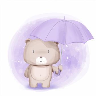 Netter bärenstandplatz und gehaltener regenschirm