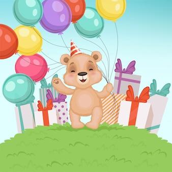 Netter bärnhintergrund. lustiges teddybärspielzeug für die kinder, die geburtstags- oder valentinsgrußgeschenkcharakter sitzen oder stehen