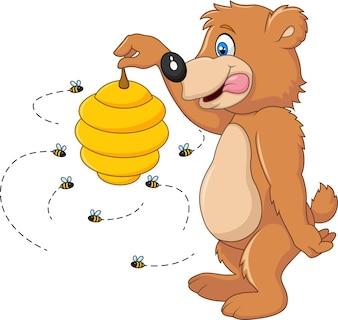 Netter Bär, der Bienenbienenstock hält