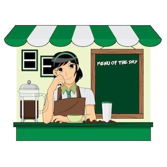 Netter barista auf der kaffeestube
