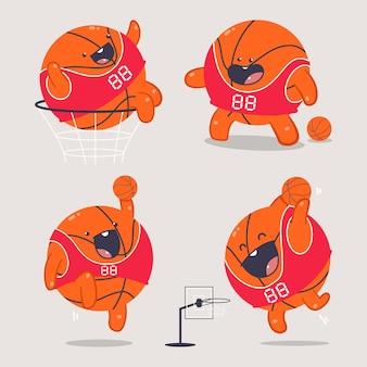 Netter basketballball-zeichentrickfiguren-satz lokalisiert auf hintergrund.