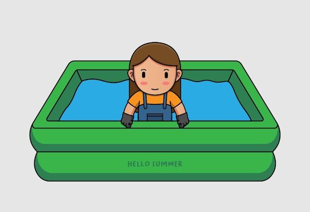Netter bauer, der mit hallo sommergrußbanner schwimmt