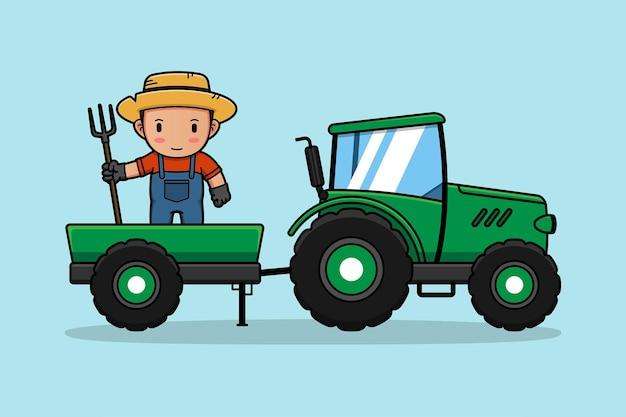 Netter bauer mit grünem traktor