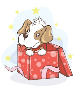 Netter beagle-welpe mit geschenkbox-karikaturcharakterillustration - frohe weihnachten