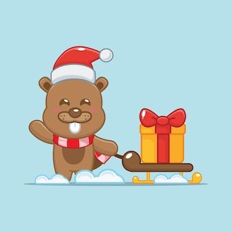 Netter biber am weihnachtstag, der geschenk trägt nette weihnachtskarikaturillustration