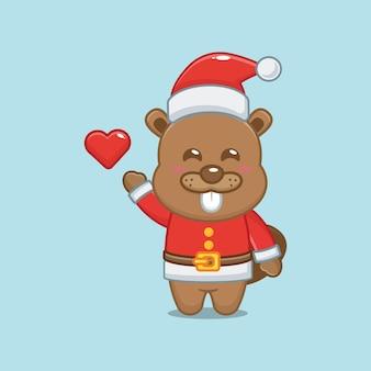 Netter biber, der sankt-kostüm am weihnachtstag trägt nette weihnachtskarikaturillustration