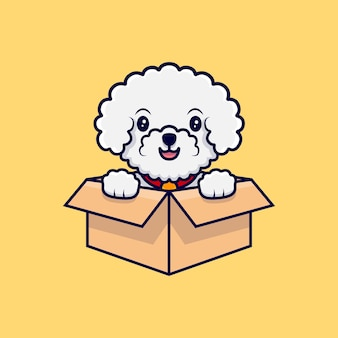 Netter bichon frise hund, der in der karton-cartoon-symbolillustration sitzt