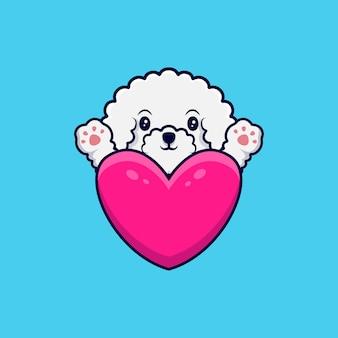 Netter bichon frise hund, der pfoten hinter einer großen herz-karikatur-symbol-illustration winkt
