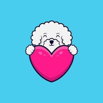 Netter bichon frise hund, der rosa herz-karikatur-symbol-illustration hält