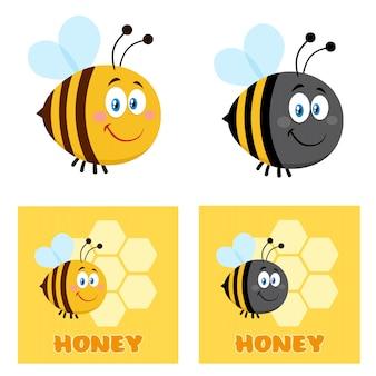 Netter bienen-cartoon-zeichensatz