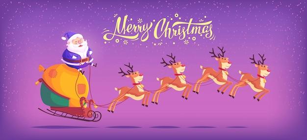 Netter blauer anzug des karikatur-weihnachtsmanns, der rentierschlitten reitet frohe weihnachten illustration horizontales banner
