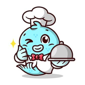 Netter blauer fisch trägt chef uniform hält lebensmittel hochwertige cartoon-maskottchen