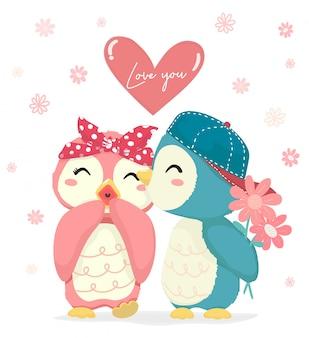 Netter blauer pinguinjunge mit glücklichem rosa pinguinmädchen des blumenkusses mit großer liebe sie herz