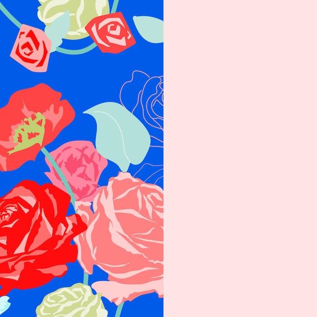 Netter blumengrenzvektor mit pastellrosen auf rosa hintergrund