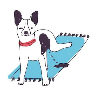 Netter böser hund, der auf dem teppich lokalisiert auf weißem hintergrund pinkelt. lustiger welpe oder hündchen, das zu hause uriniert. haustier im haus gepisst. schlechte angewohnheit von haustieren. farbige handgezeichnete vektorillustration Premium Vektoren