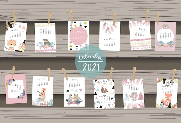 Netter boho-kalender mit federfuchs-wildwald für kinderkindbaby