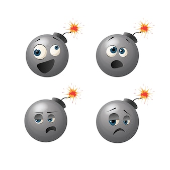 Netter bombencharakter mit verschiedenen emotionen auf seiner gesichtskarikaturillustration