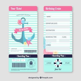 Netter bordkarte mit nautischen elementen