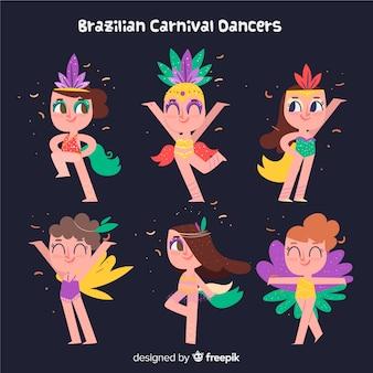 Netter brasilianischer karnevalstänzersatz