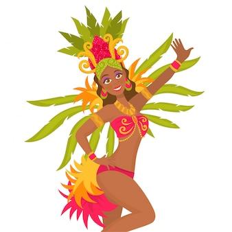 Netter brasilianischer tänzer auf karneval