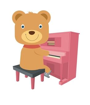 Netter brauner teddybär, der klavier spielt
