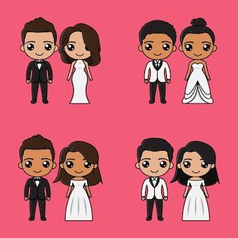Netter braut- und bräutigamkarikatur auf hochzeitseinladungsillustration