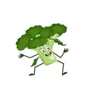 Netter brokkoli-charakter mit freude emotionen lächelndes gesicht glückliche augen arme