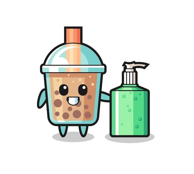 Netter bubble tea-cartoon mit händedesinfektionsmittel, süßes design für t-shirt, aufkleber, logo-element