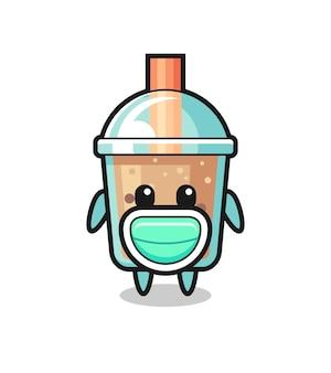 Netter bubble tea-cartoon mit maske, süßes design für t-shirt, aufkleber, logo-element