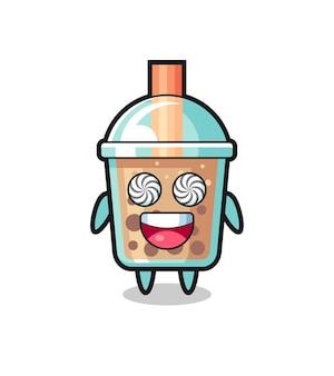 Netter bubble tea-charakter mit hypnotisierten augen, süßes design für t-shirt, aufkleber, logo-element